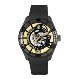 Reloj Watx & Colors Skeleton negro dorado