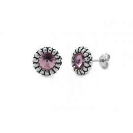 Pendientes Etrusco plata Swarovski light amatista