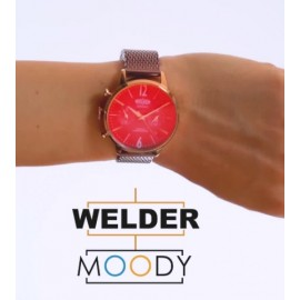 Reloj Welder malla color vino
