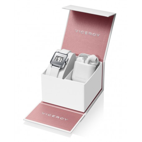 Pack Viceroy reloj digital blanco y auriculares de regalo