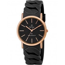 Reloj Radiant New For You caucho negro caja rosé